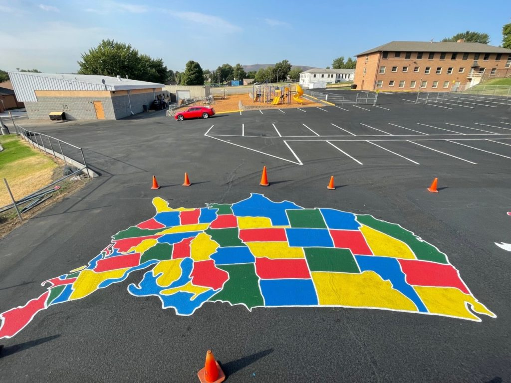 School Parking lot and playground striping