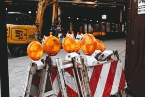 Traffic control devices at construction zone