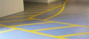 Striping in a parking garage