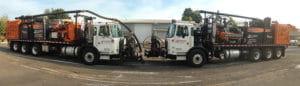 2 of Stripe Rite's water jet trucks, close up